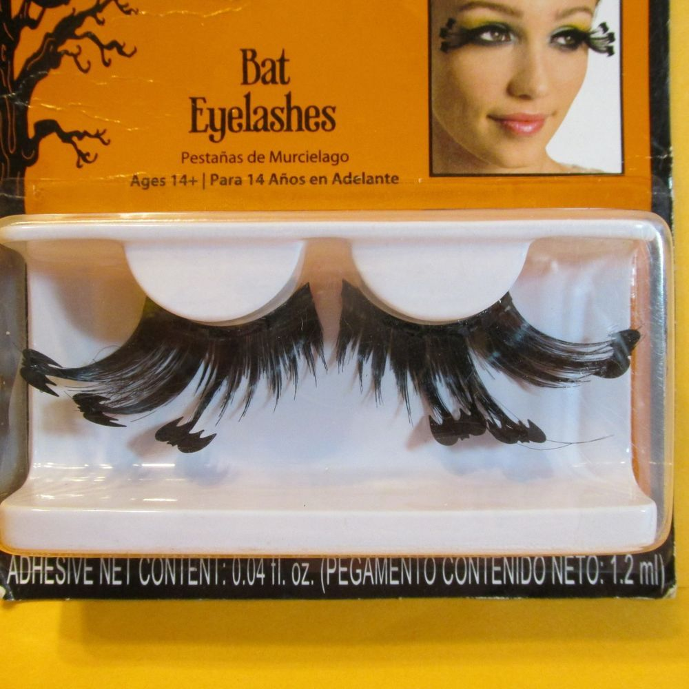 Halloween Bat False Eyelashes Black Extra Long W Adhesive Costume