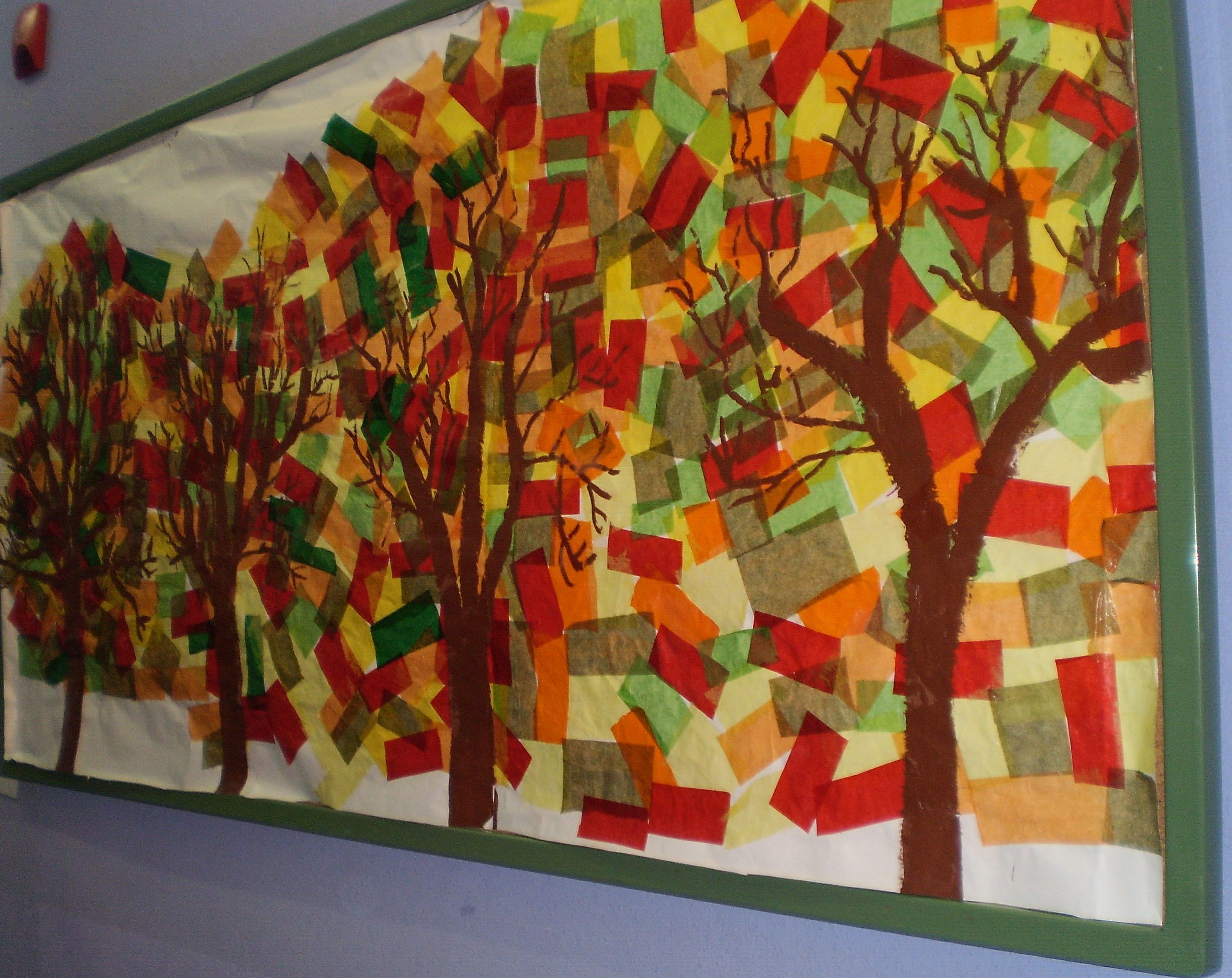 Fall mural precut trunks and have kids glue on tissue for Autumn wall mural