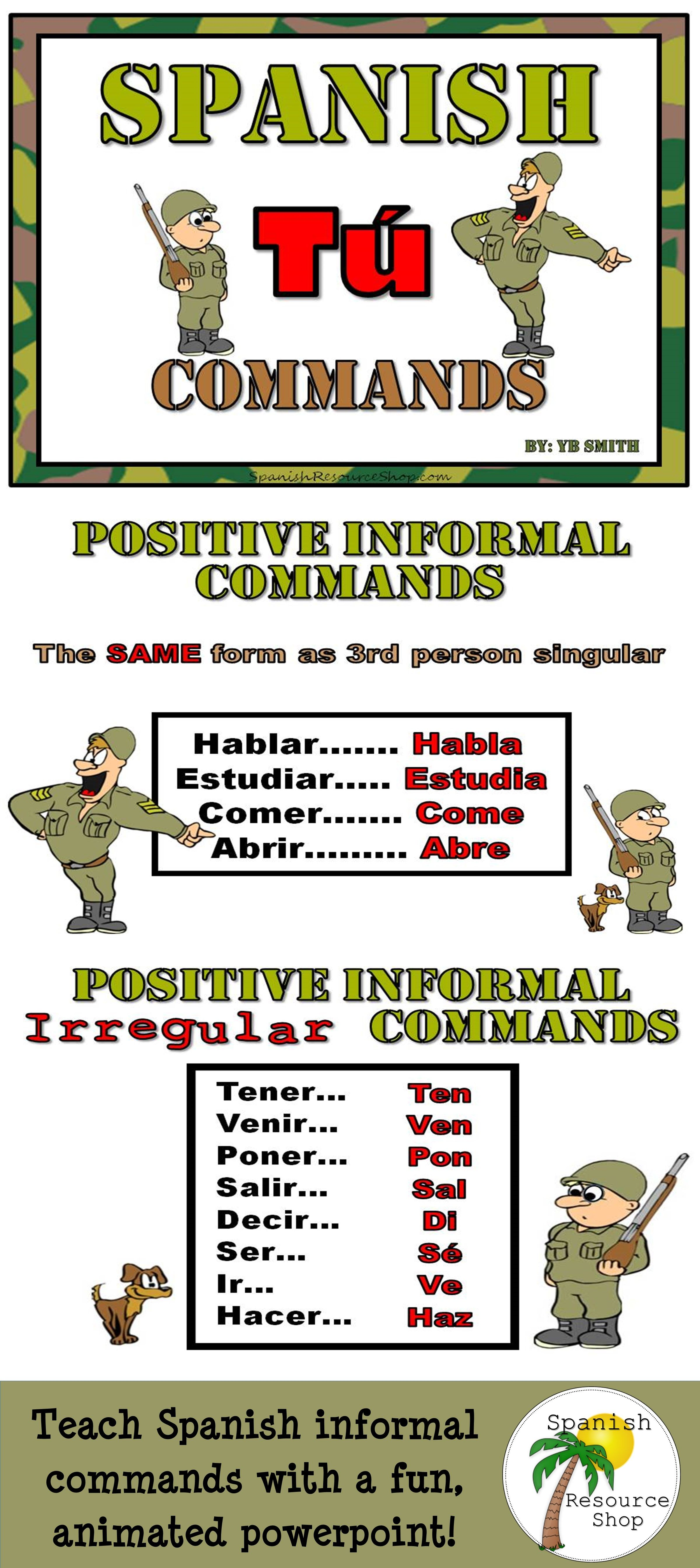 Spanish Commands Informal Grammar Notes And Practice
