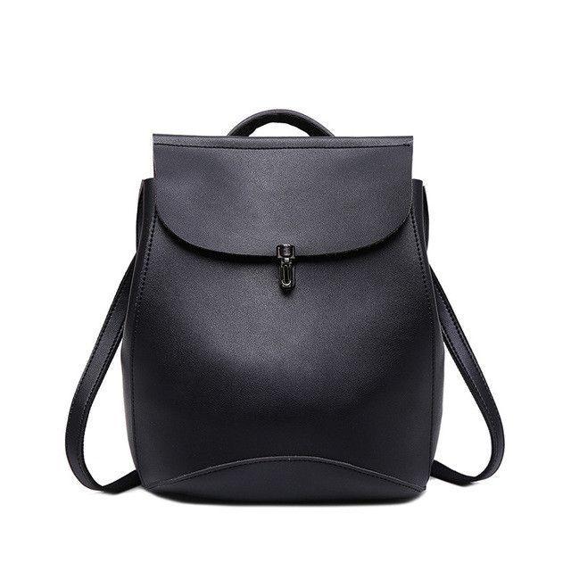 aee52ee7763c Vintage Women Backpack Small Black Backpacks for Teenage Girls Fashion  Travel Pack Bags Brown PU Leather Rucksack mochila XA130H