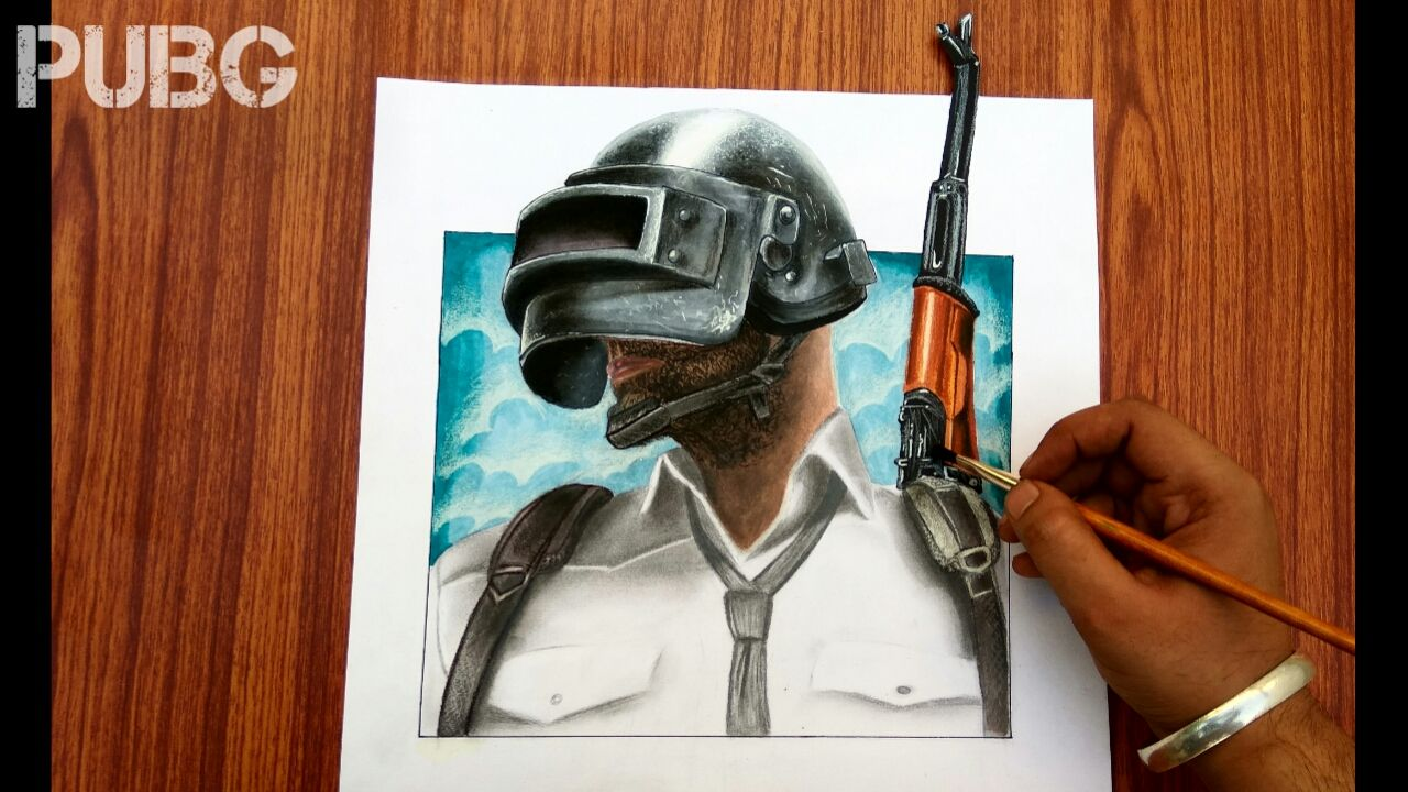 Pubg Fanart Acrylics Paper: How To Draw PUBG Mobile Character