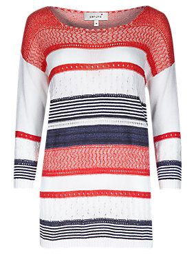 Poppy Mix Italian Made Multi Stripe Knitted Top with Pointelle Detail