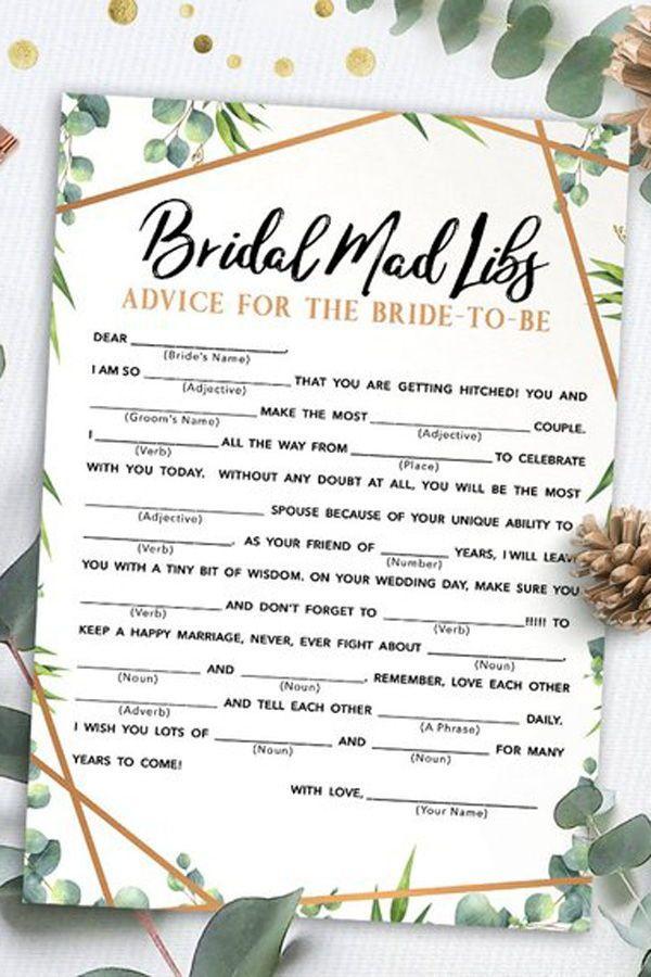 bridal mad libs bridal shower games printables bridal shower game idea bridal shower instant download wedding game bridal shower activities