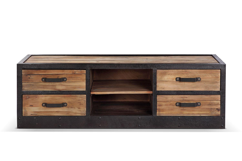 meuble tv bas industriel vintage tv02 meuble tv meuble tv bas et industriel vintage. Black Bedroom Furniture Sets. Home Design Ideas