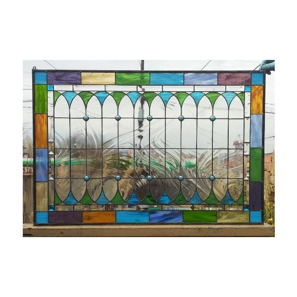 Original Stained Glass Window Ii (Wispy Opal Version) (W-42) ($489) ❤ liked on Polyvore featuring home, home decor, grey, home & living, home décor, gray home decor, grey home decor and windows stained glass