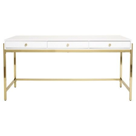 Modren White Desk Target Writing With Gold Hardware Intended Inspiration Decorating