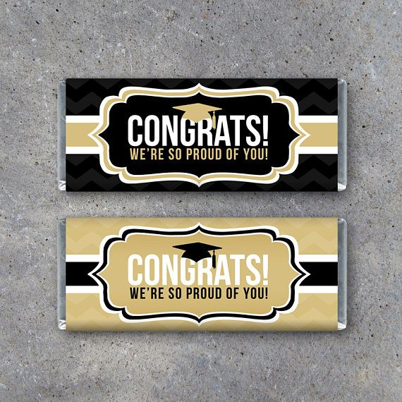 Graduation CONGRATS Candy Bar Wrappers! Printable DIY graduation party favors in black and gold. Designed to fit the standard 1.55 oz. Hershey's candy bars. Throw together a fabulous party in minutes with our coordinating line of graduation instant downloads. By Studio 120 Underground, $5.