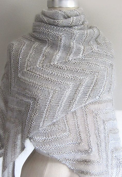 Free Knitting Pattern for Chevron Cloud Shawl - Two contrasting ...