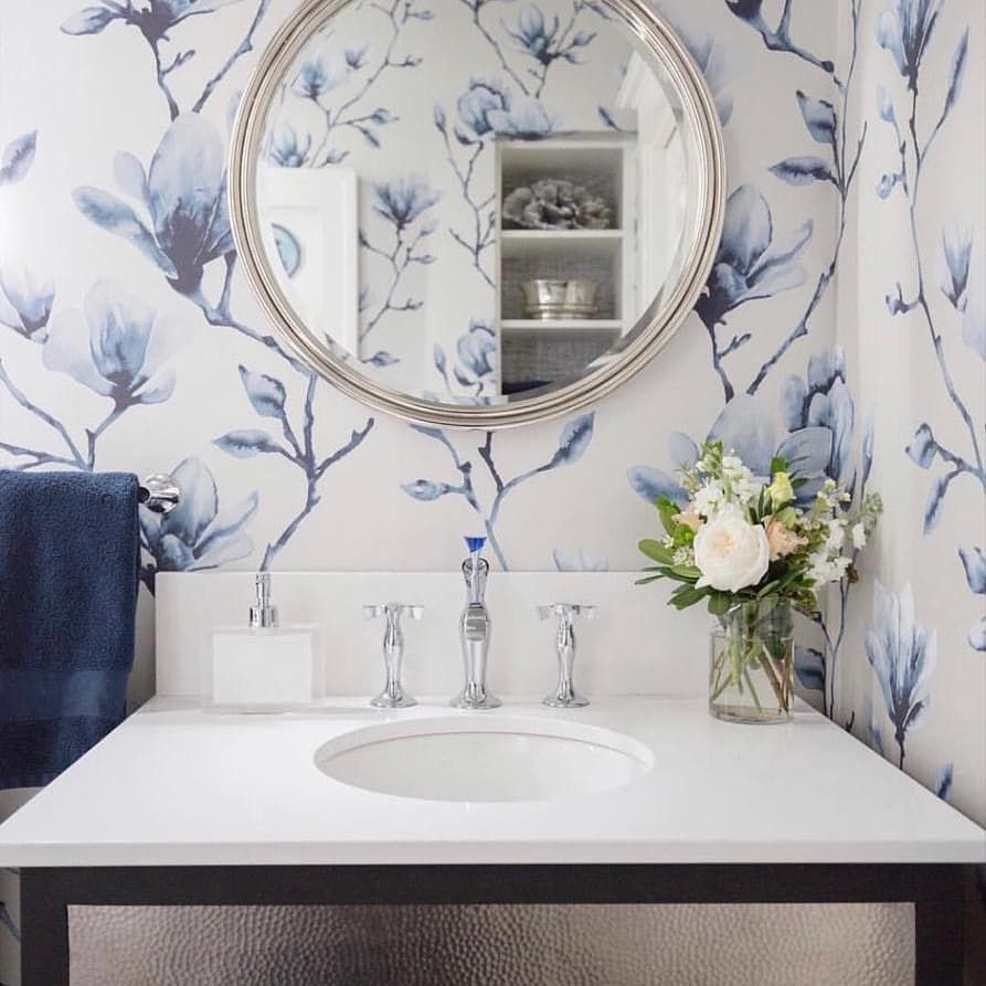 New The 10 Best Home Decor With Pictures I Loved This Powder Room Design So Much I Needed To Share Powder Room Design Glass Finial Round Mirror Bathroom