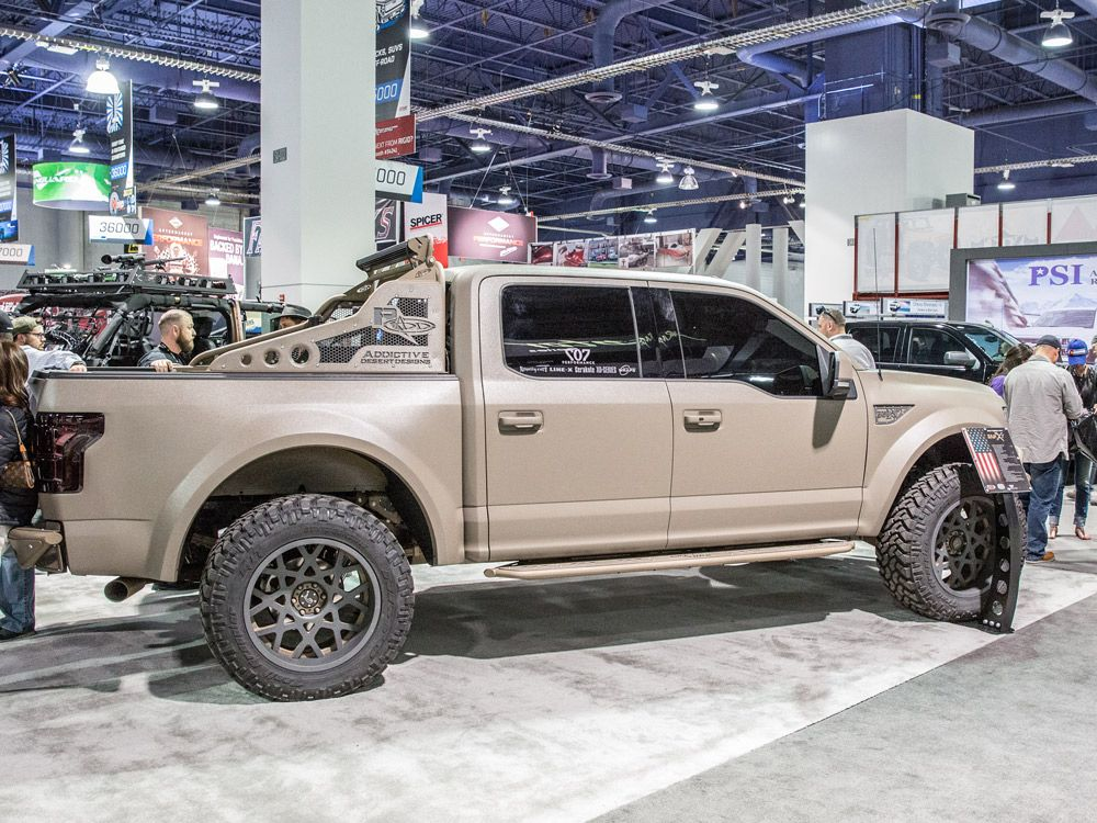2015 sema f-150 withadd long travel suspension, rock sliders and