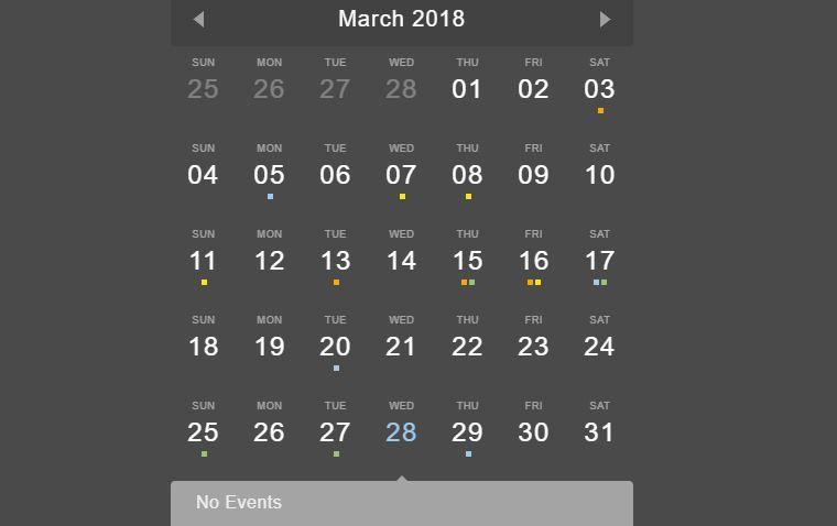 10 Simple Javascript Event Calendar Examples Event Calendar