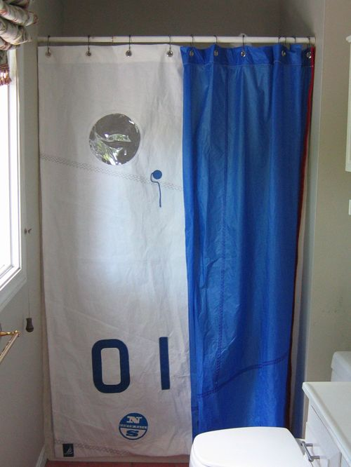 Recycled Sailcloth Shower Curtain Half Dacron Half Spinnaker