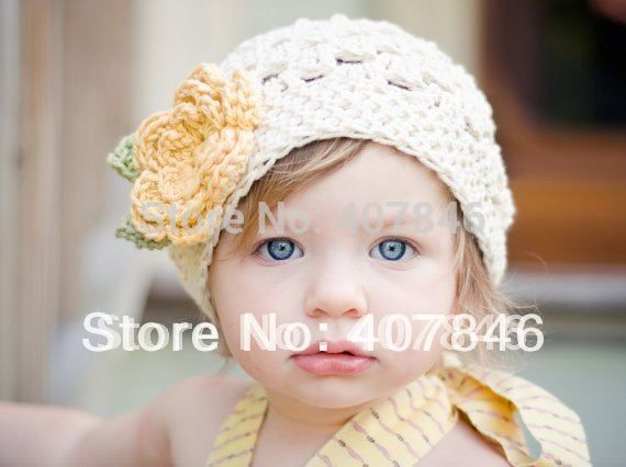 b5a412f3786 Baby crochet hat infant girl big flower hats colorful handmade beanie  18pcs lot cotton yarn