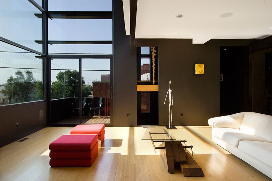 Architecture Design, New Homes Living Room And Red Couple Sofas And