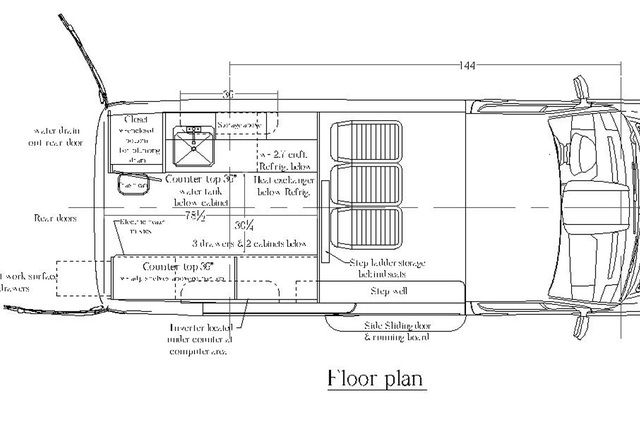 Mercedes sprinter cargo van floor plan campers for Mercedes plan