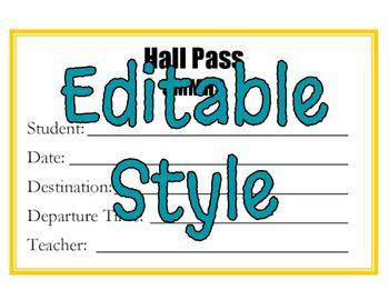 editable free hall pass template  FREEBIE! Hall Pass Template - Editable   free passes school ...