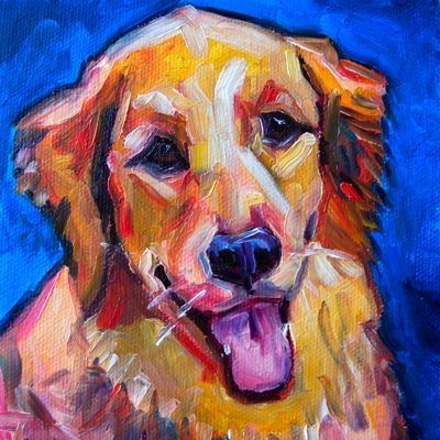 "Elizabeth Fraser does whimsical pet portraits that capture wonderful personality. This one is ""Golden Retriever Joy""."