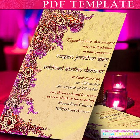 Invitation Template Indian Wedding Cards For Bollywood Party In Gol Hindu Wedding Invitations Printable Wedding Invitations Diy Printable Wedding Invitations