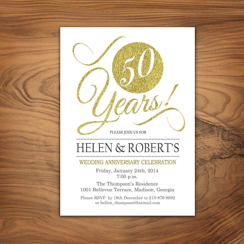 50th Wedding Anniversary Invitation Glitter Gold White Digital Printable Customized By