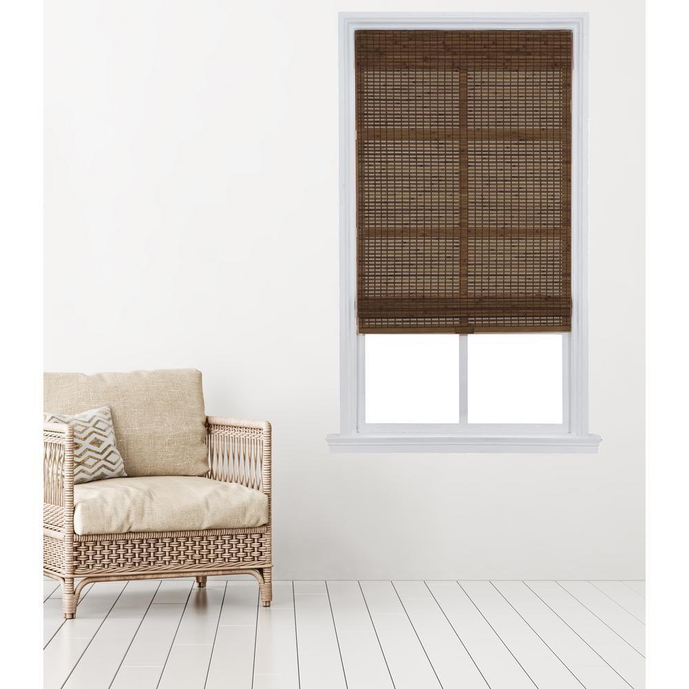 Home Basics Pecan Carbonized Cordless Bamboo Roman Shade 35 In
