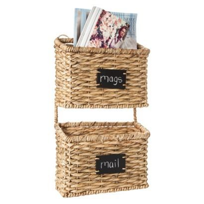 Smith Hawken Woven Wall Organizer With 2 Baskets And Chalkboard
