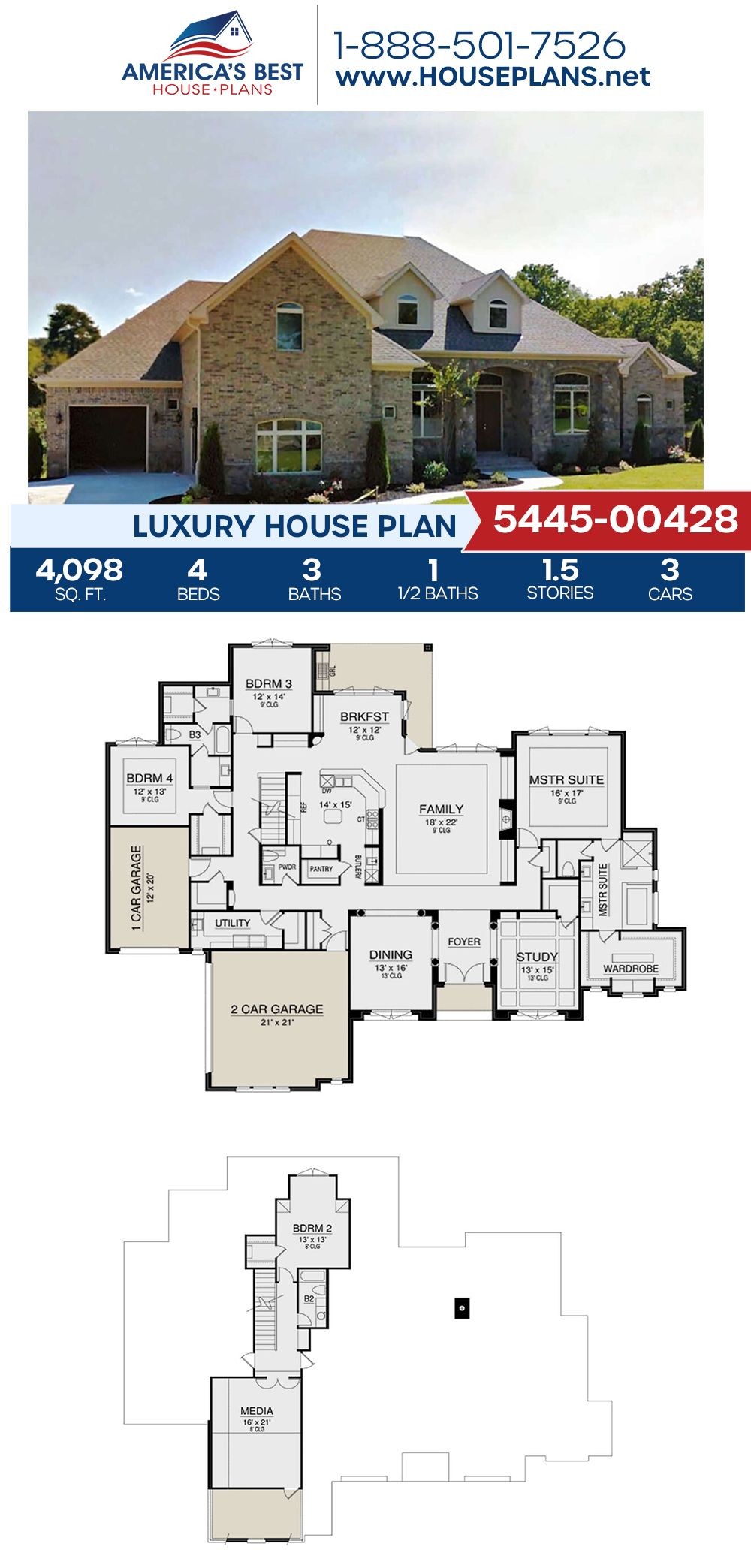 House Plan 5445 00428 Traditional Plan 4 098 Square Feet 4 Bedrooms 3 5 Bathrooms In 2020 House Plans Luxury House Plans House Blueprints