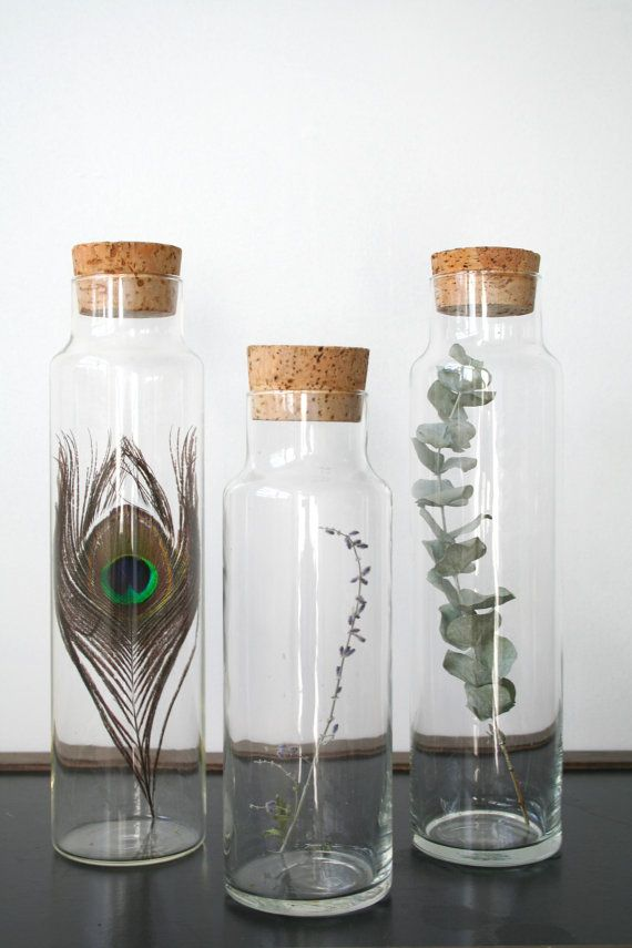 home decor ideas with glass bottles glass jars with cork lids beautiful jars and glass bottles 13248