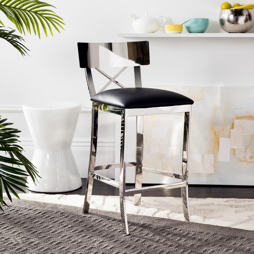 Safavieh Zoey 26 5 In Stainless Steel Cross Back Counter Stool In