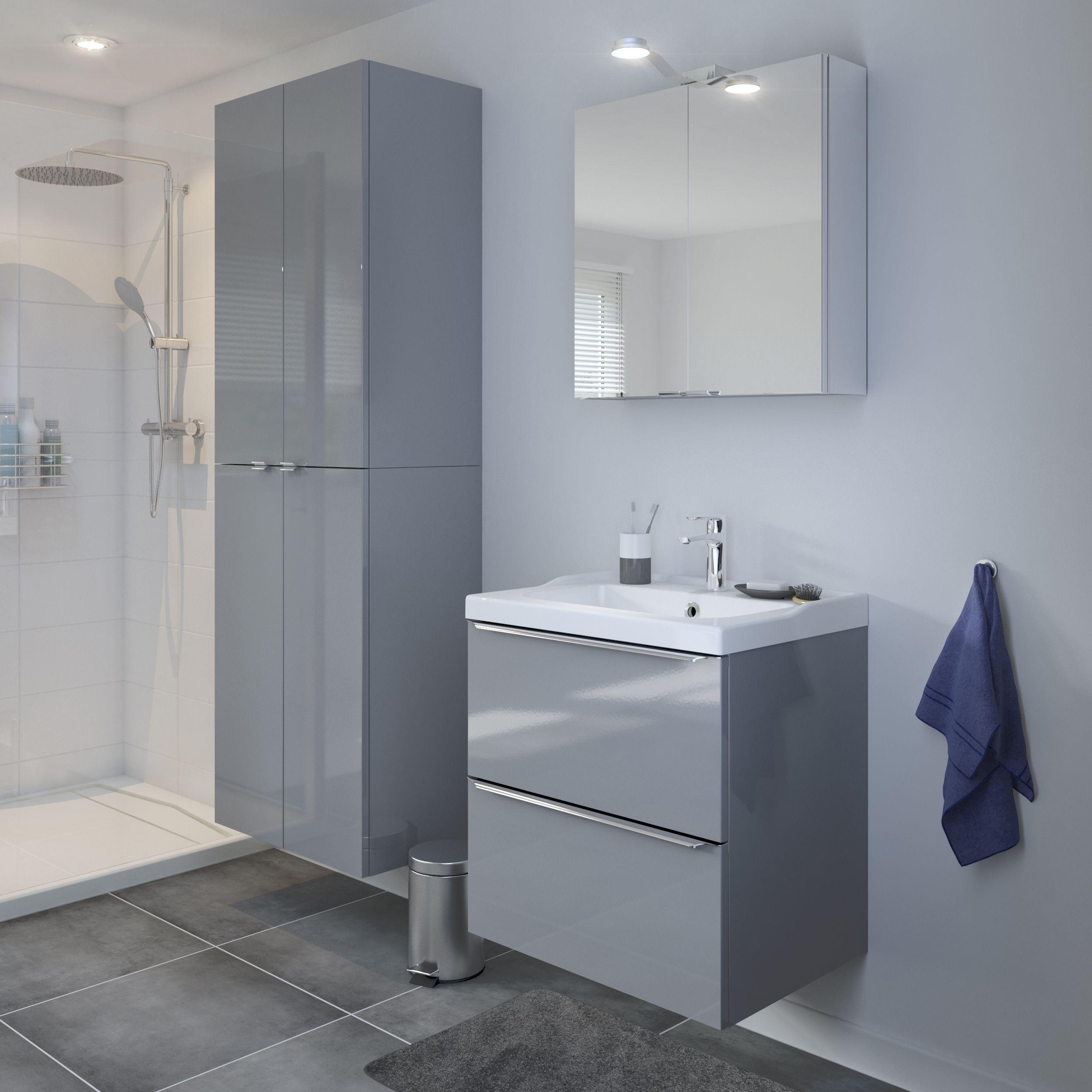Goodhome Imandra Gloss Grey Deep Wall Cabinet W 600mm H 900mm Vanity Basin Basin Unit Modular Bathrooms