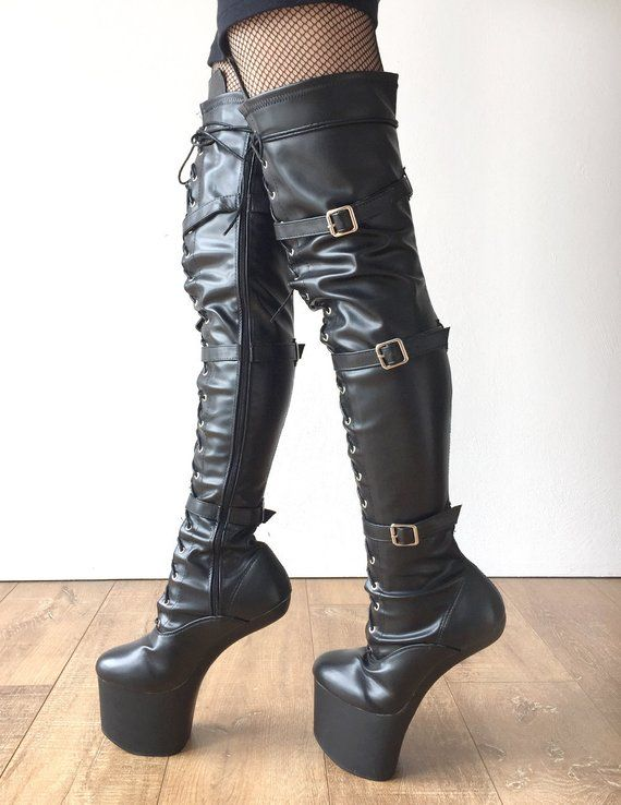 a12da7f1b0e DANY 18cm Pony Hoof Sole Heelless Platform Crotch Hi Boots Black ...