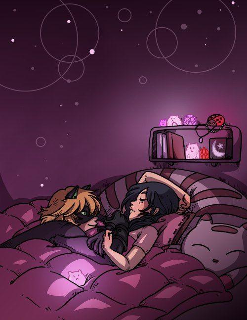 Marichat cuddle time~ (Miraculous Ladybug, Marinette, Chat Noir