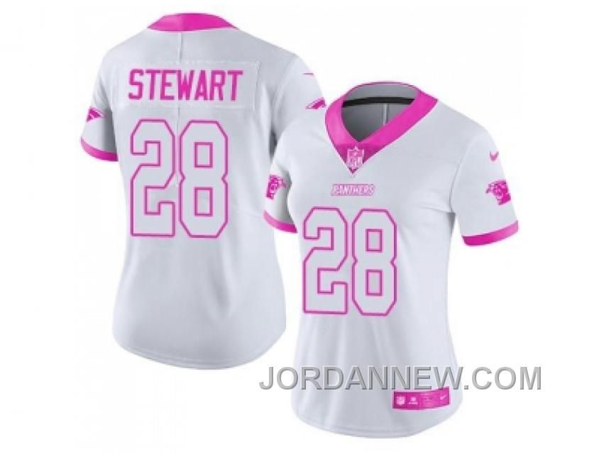 af6180a48 ... Buy Womens Nike Carolina Panthers Jonathan Stewart White Pink Stitched NFL  Limited Rush Fashion Jersey For Guard John Greco 77 of the Cleveland Browns  ...