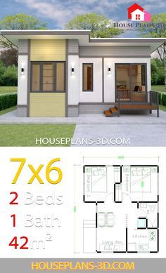 Small House Plans 7x6 With 2 Bedrooms House Plans 3d Flat Roof House House Plans Simple House Plans