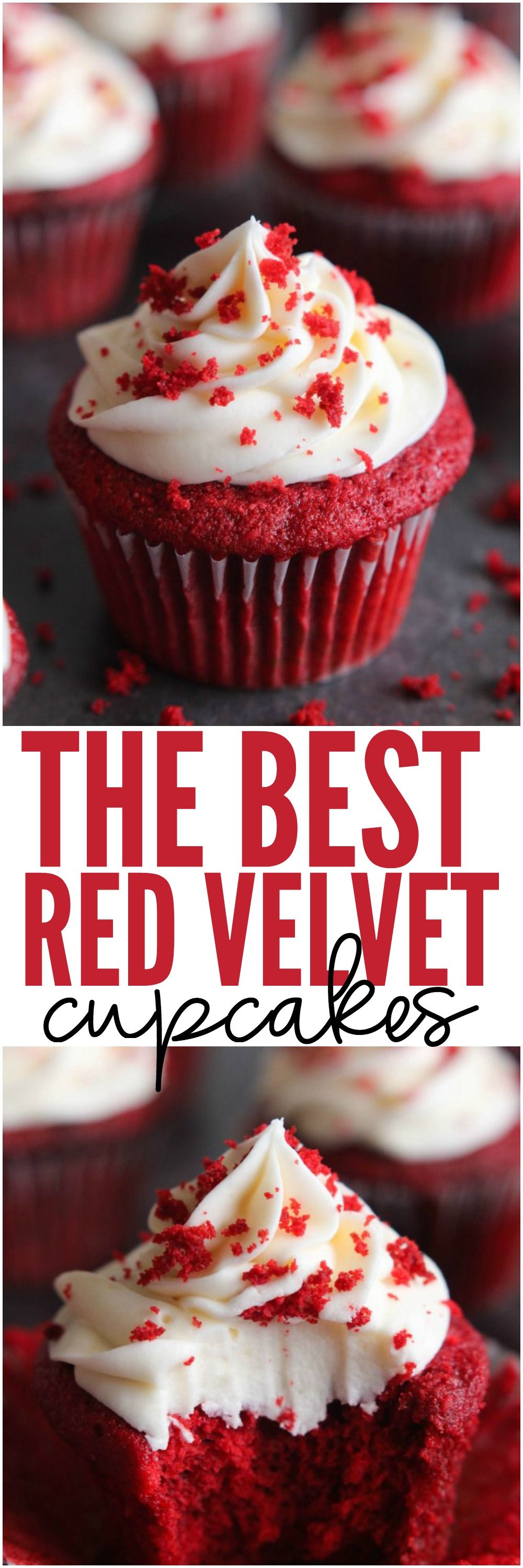 The BEST Red Velvet Cupcakes are a light cake with a beautiful red ...