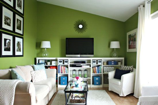 Organized, green living room - we need an entertainment center ...