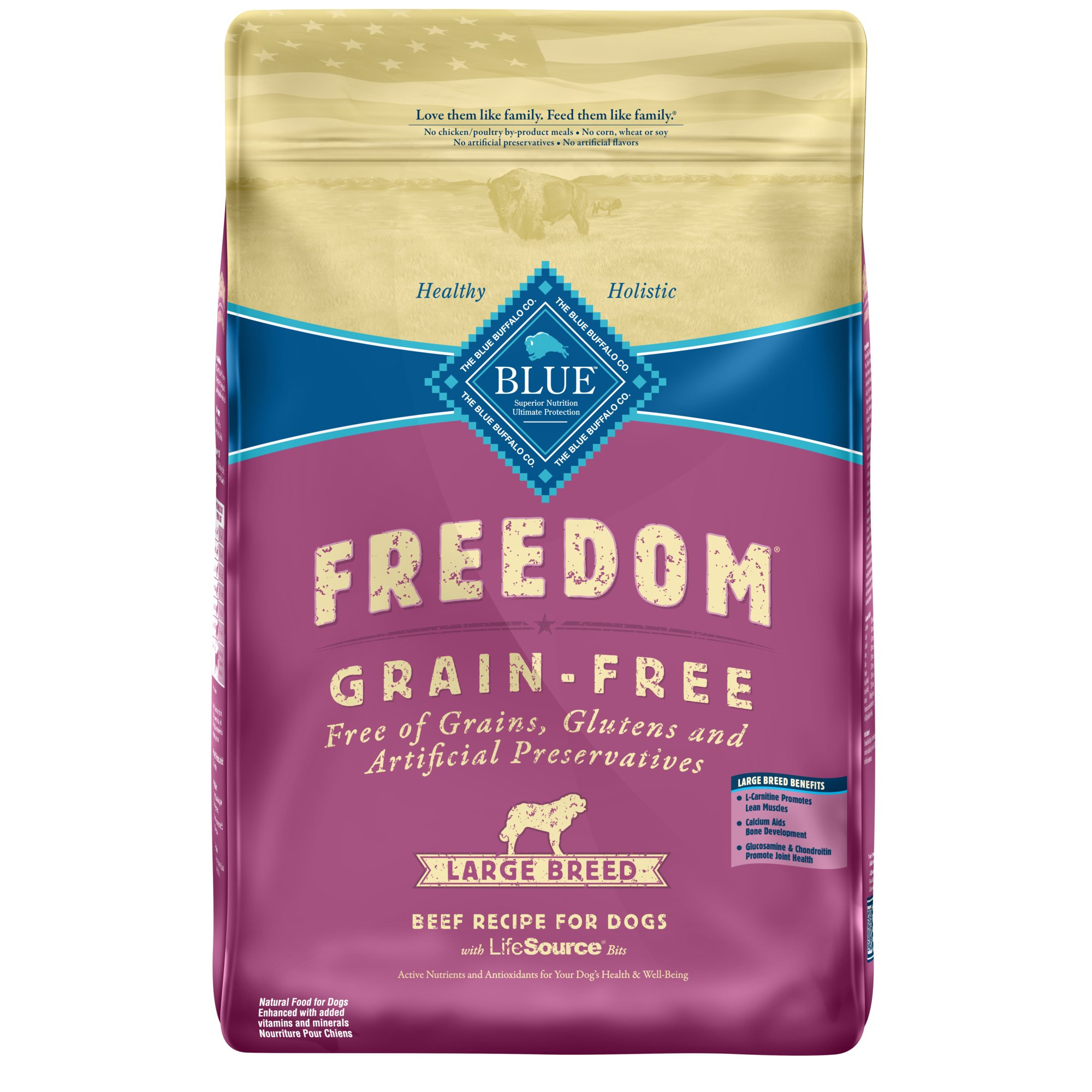 Blue Freedom Grain Free Beef Recipe Dry Food For Large Breed Adult