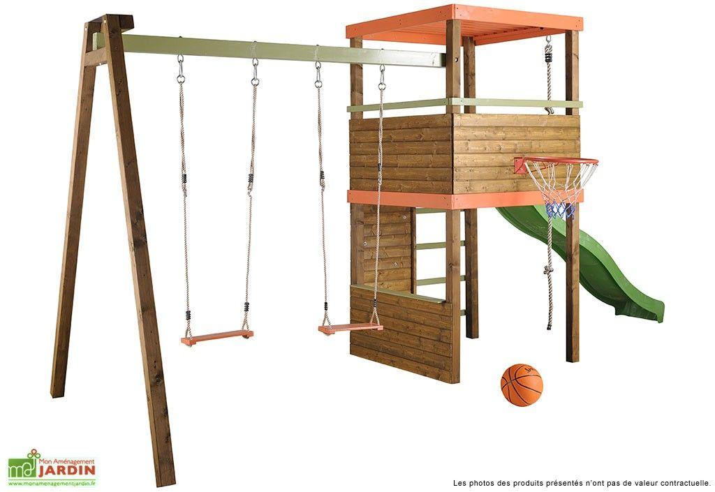 portique toboggan balan oire bois mur d 39 escalade corde panier basket pinterest escalade. Black Bedroom Furniture Sets. Home Design Ideas