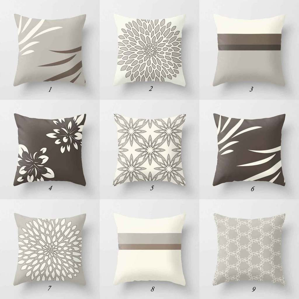 Decorative Cushions Throw Pillow Covers Gray and Brown подушки