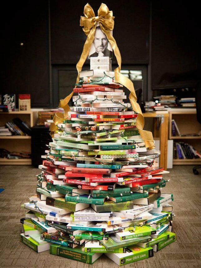 Book Tree Steve Jobs In 2020 Unusual Christmas Trees Unique Christmas Trees Alternative Christmas Tree