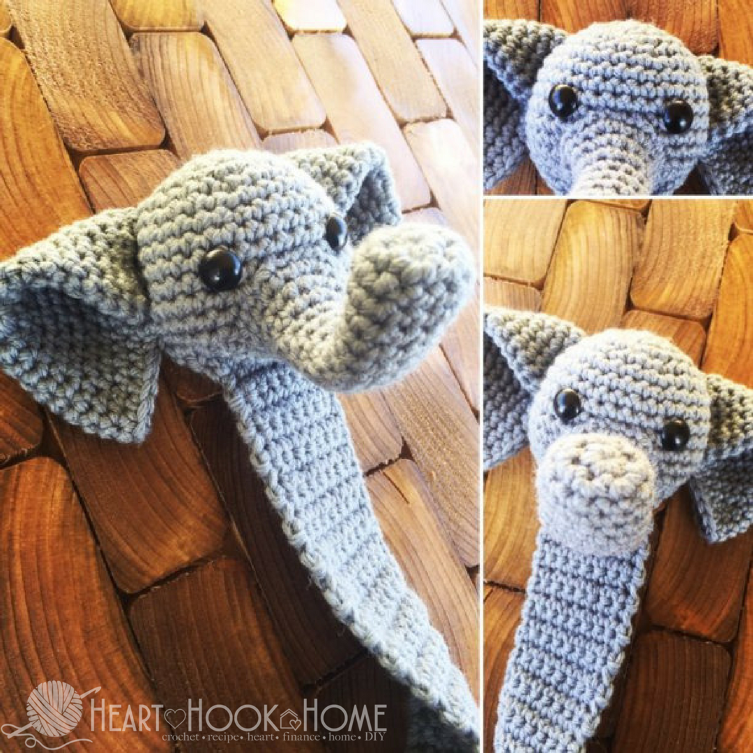 Webster the Elephant Bookmark Free Crochet Pattern #crochetelephantpattern
