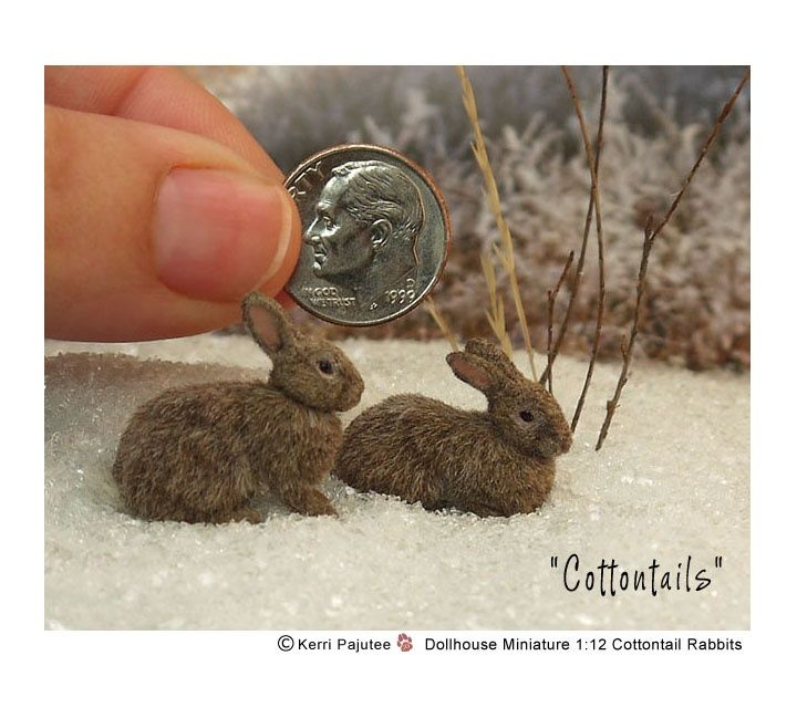 Two original 1:12 scale cottontail rabbits handmade from polymer clay, delicate wire armature with permanent natural alpaca fiber coats by Kerri Pajutee.