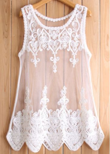 All Match Lace and Mesh Splicing Vest White