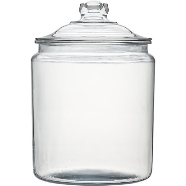 Simple glass jars for flour, sugar, etc. These are the jars