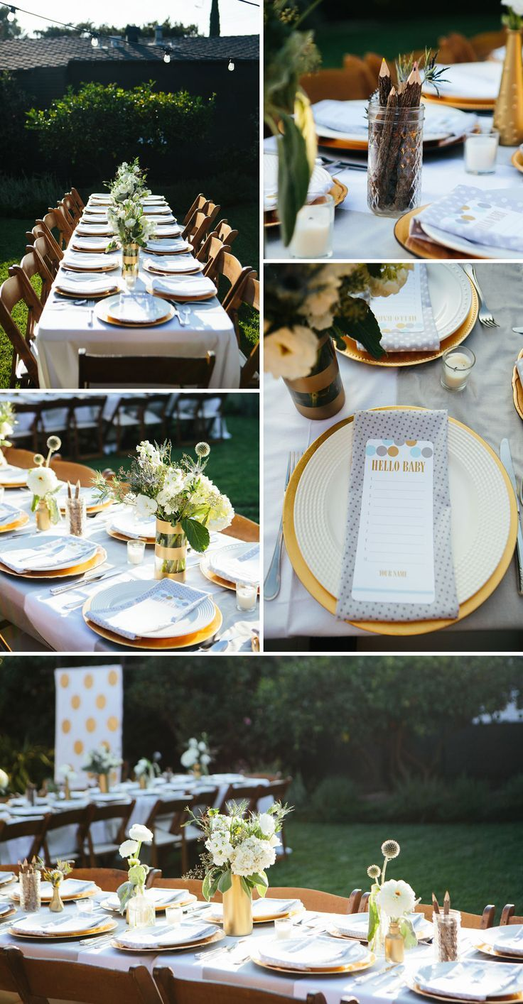 Gender Neutral Outdoor Baby Shower in Gold and White