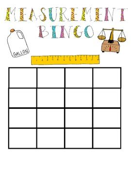 picture about Printable Measurement Games named Dimension Bingo Match Dimensions - Various Math
