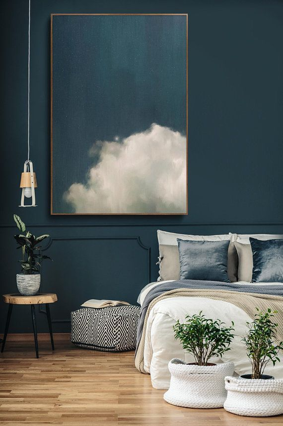 CLOUD PAINTING, LARGE Wall Art, Abstract Art, Large Abstract Painting, Blue and White Cloudscape Art