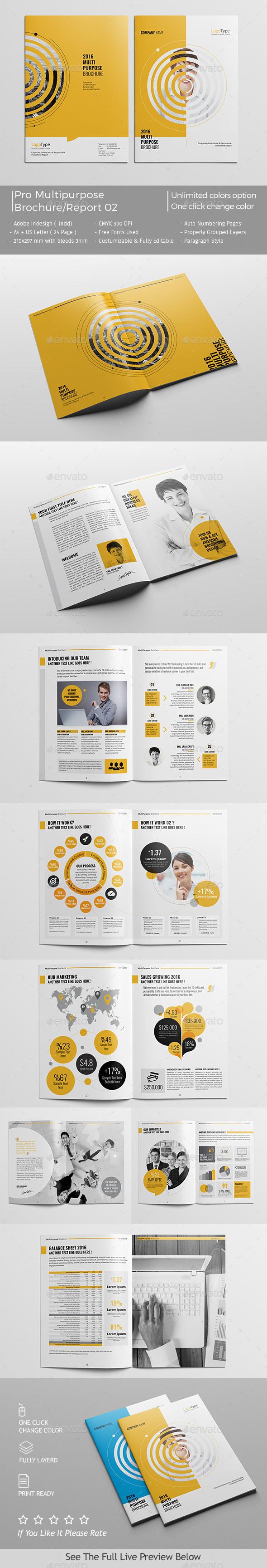 Pro Multipurpose Brochure / Report Template InDesign INDD #design ...