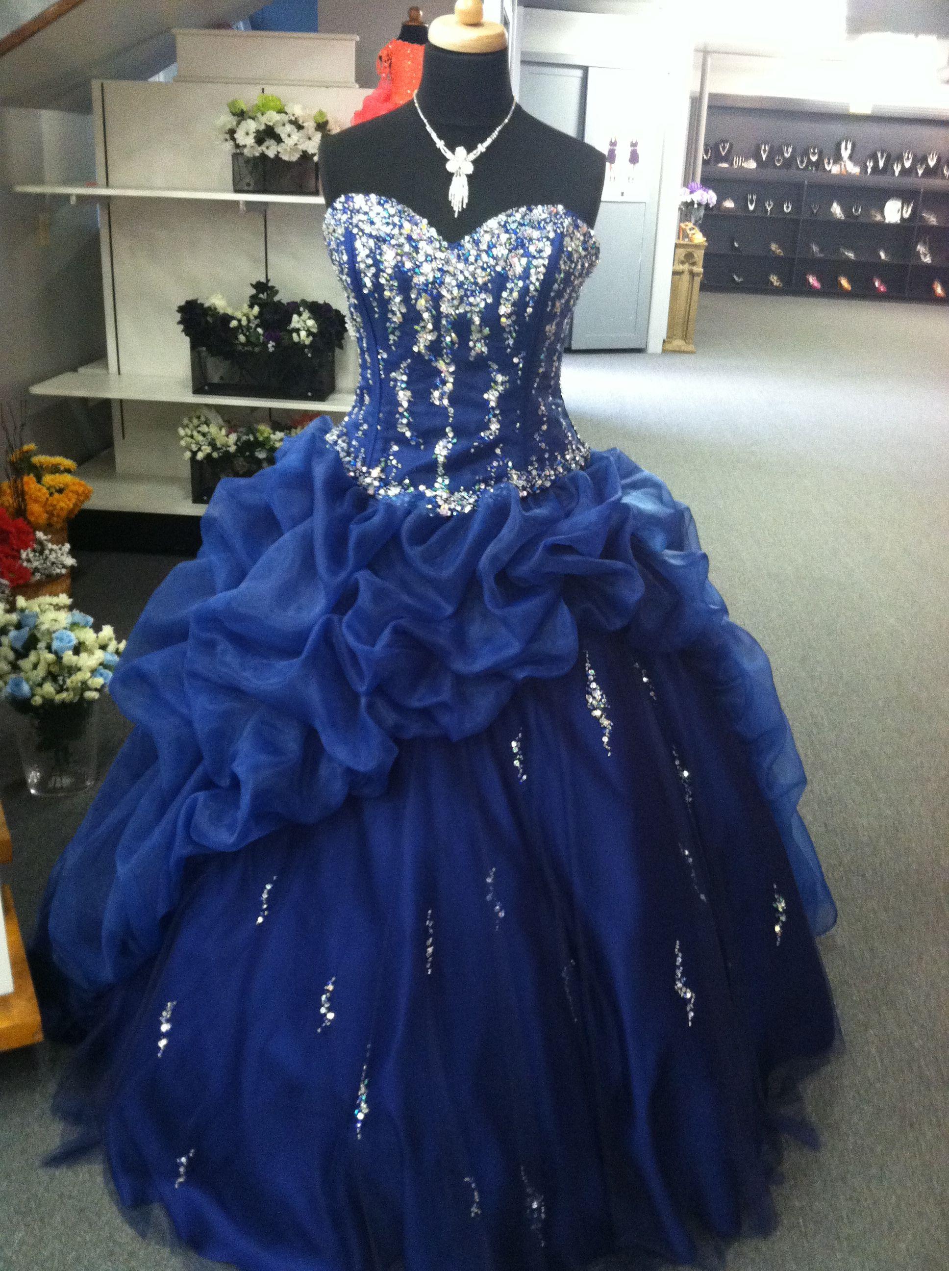 bc522651b2aa1 Midnight Blue Quinceanera dress by DaVinci traditional ruffle skirt ...