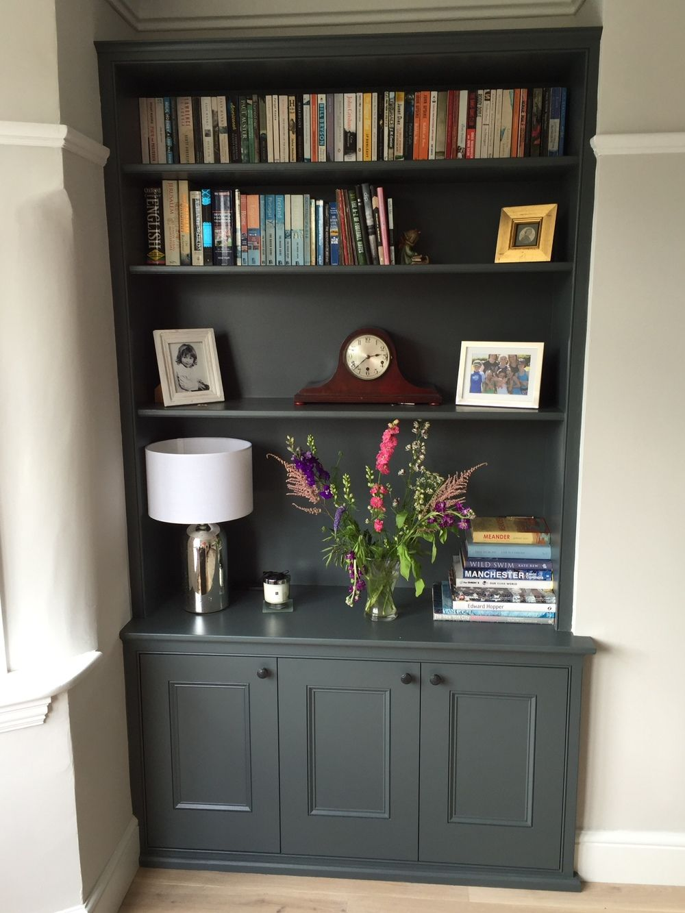 Handmade Shelving Alcove Unit Painted Dark Grey And Cabinets By