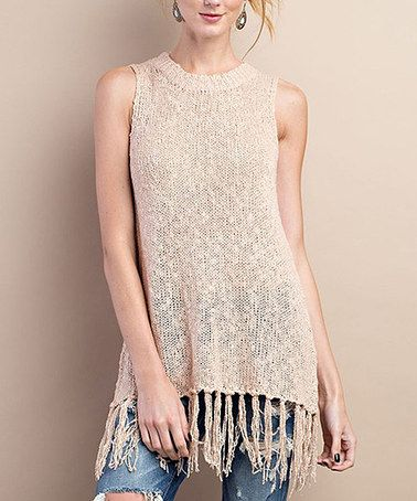Loving this Blush Fringe-Accent Tank Top on #zulily! #zulilyfinds